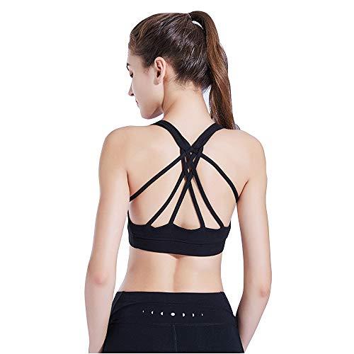 Sport-bh voor dames, met kruis-rugleuning en naadloze gevoerde steun zonder beugel, voor yoga en fitness, zwart
