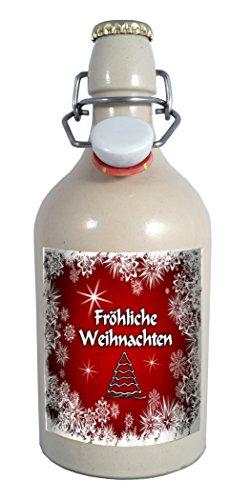 Tonflaschen Fröhliche Weihnachten Tonflasche 0,75 Liter Bier mit Bügelverschluss (keine Geschenkverpackung)
