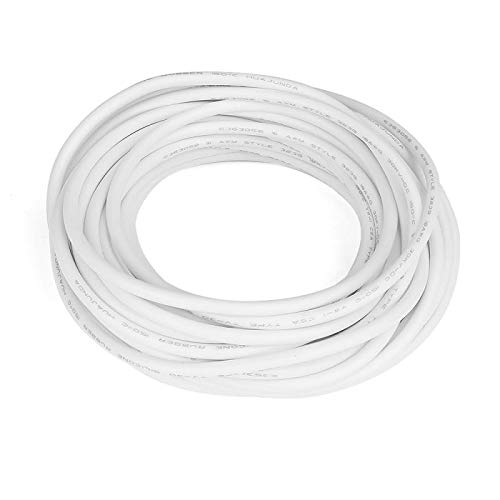 XJS Electric Copper Core Flexible Silicone Wire Cable White 10M 32.8Ft (18AWG 30KV)