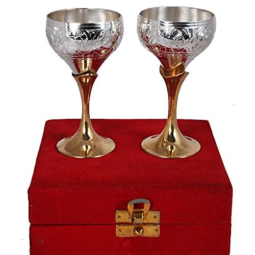 Juego de copas de vino de dos tonos de plata germen