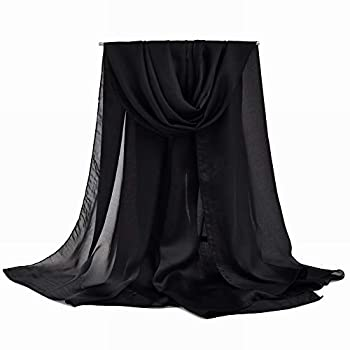Mulberry Silk scarf vimate Womans Long 100% Black Silk Scarf Shawl Wrap with Gift Box Package