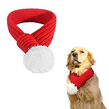 PEDOMUS Costume de Noël Écharpe Rouge Pet Écharpe pour Chien et Chat (L)