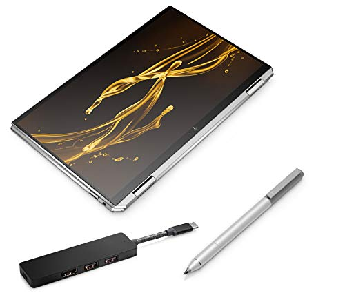 HP Spectre x360 13-aw0030ng (13,3 Zoll / UHD Touch) Convertible (Intel Core i7-1065G7, 16GB DDR4 RAM, 1TB SSD, 32GB Intel Optane, Intel Iris Plus Grafik, Win10) silber inkl. Pen + USB-C Hub