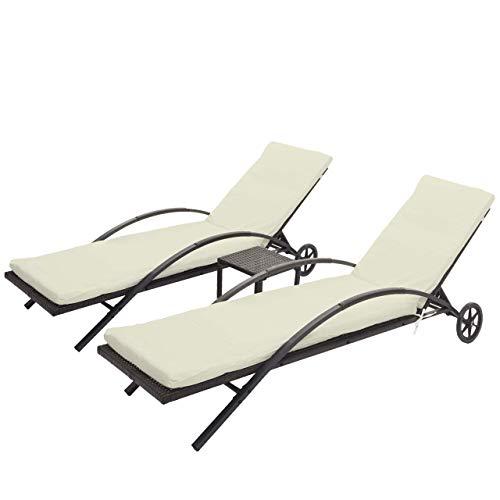 Mendler 2X Sonnenliege HWC-E27, Relaxliege Gartenliege, Poly-Rattan - braun, Kissen Creme-beige