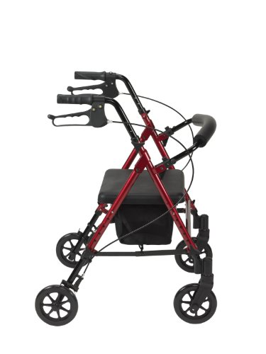 Drive Medical Adjustable Height Rollator with 6 Inches Wheels is another very good light weight rollator walker