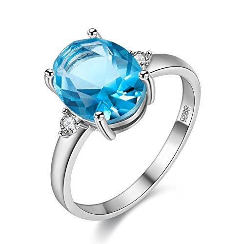 Uloveido Anillo de compromiso de boda de piedras preciosas de topacio azul de plata de ley 925 para mujer, anillo ajustable de piedra azul claro de piedra natal de Marth para niñas FJ106