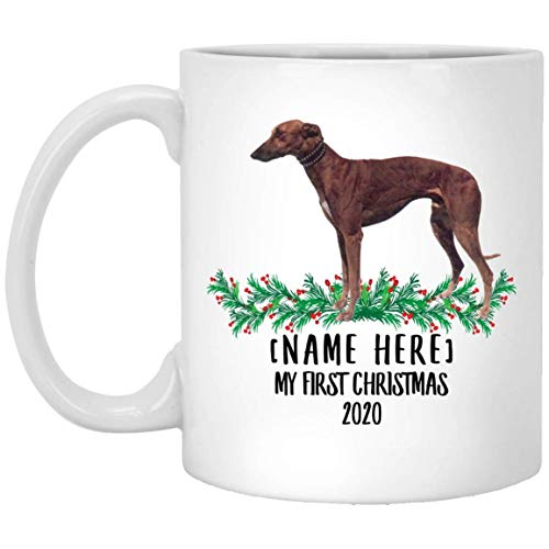 Divertido nombre personalizado Greyhound Red Brown First Christmas 2020 White Coffee Mug 11 oz