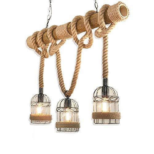 Lámpara de techo industrial de metal, estilo vintage, con cuerdas, de bambú