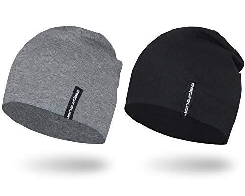 EMPIRELION 9' Multifunctional Lightweight Beanies Hats 2 Pack, Running Skull Cap Helmet Liner Sleep Caps for Men Women (Black + Mid Grey Melange)