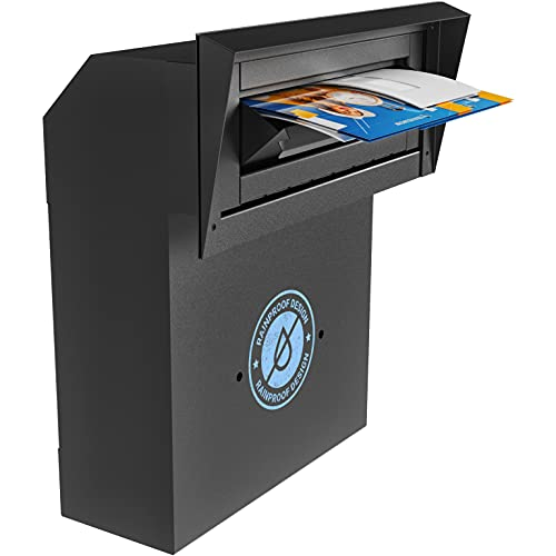 DROPZZA Improved Rainproof Locking Mailbox - Reinforced Through-The-Door Dropbox, Double Steel Door Drop Safe Locked Mailbox with Rubber Mat, Metal Baffle Mail Slot and Rain Protection Key Drop Box