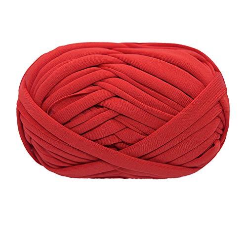 Hilo de camiseta, hilo de tejer, tela de ganchillo, tela de ganchillo para mano de verano, bolsa de bricolaje, manta, cojín, proyectos de ganchillo, 100g (# 17 rojo anaranjado)