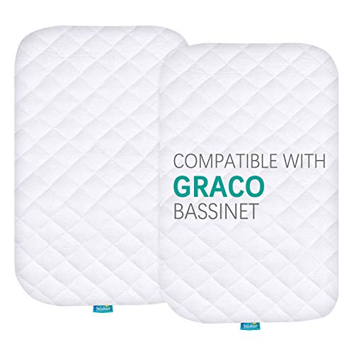 Bassinet Mattress Pad Cover Compatible with Graco Travel Lite Crib, 2 Pack, Waterproof Quilted Ultra Soft Bamboo Sleep Surface, Breathable and Easy Care