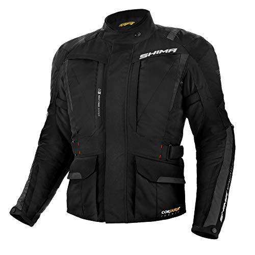 SHIMA Hero, Motorradjacke Touring Herren Mit Protektoren Textil Herren Motorrad, (S-4XL, Schwarz), Größe L