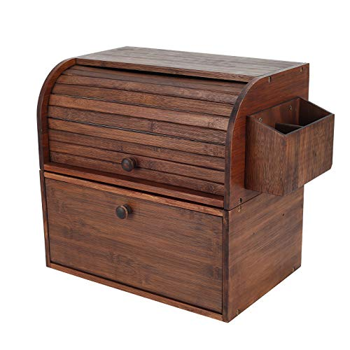 TQVAI Natural Bamboo 2 Layer Bread Storage Box Roll Top with Silverware Basket 2 Tier Can Rack Organizer, Retro Brown
