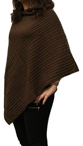Karianne's Secret Poncho de punto de cachemir 100% puro para mujer, en marrón chocolate, hecho a mano en Nepal