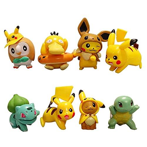 Babioms Mini figuras de 8 piezas Juego de accesorios para fiestas de cumpleaños Cupcake Pikachu Figuras decorativas para tartas Ideal para fiestas de cumpleaños Ideal para niños y niñas