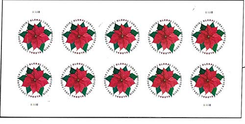 Global Poinsettia 1 Sheet of 10 International First Class Forever US Postage Stamps Mail Holiday Celebration Flower (10 stamps)
