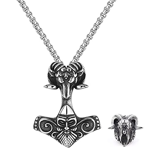 AMOZ Viking Thor 's Hammer Sheep Heads Colgante Collar, Hombres Acero Inoxidable Ram' S Cuerno Cráneo Anillo, Tótem de Runas Nórdicas Joyería de Amuleto Pagano Escandinavo,12