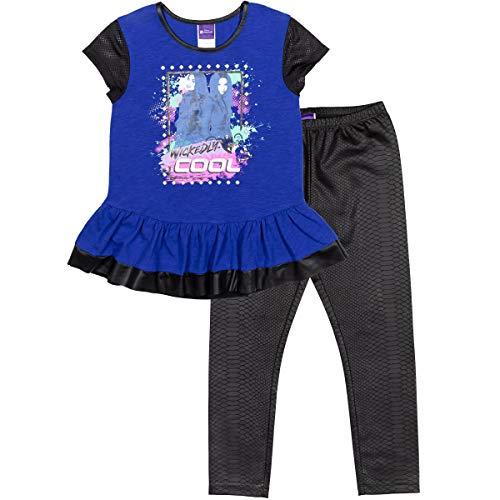 Disney Descendants Mal Evie Little Girls Peplum Short Sleeve T-Shirt Legging Set 6-6X Blue/Black