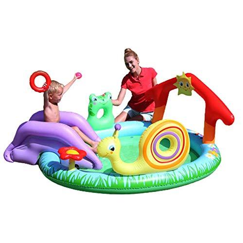 Centro de juegos inflable, piscina inflable Gamen de juguete de unicornio grande Unicornio, centro de juego con pulverizador y diapositiva, piscina engrosada de la fuente de dibujos animados juego