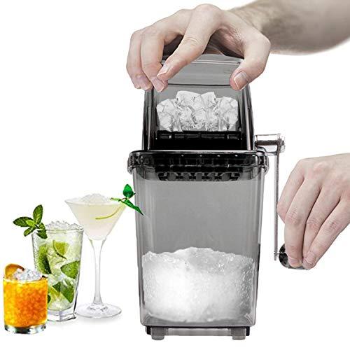 CZ-XING Crushed Ice Maker Manuell Eiscrusher Edelstahl crushed ice maschine mit Handkurbel Ice Crusher Sommer-Stromloser Transparent Eiszerkleinerer Bar Küche vereist Trinken zubehör (grau)