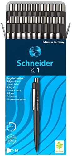 Schneider K-1 Retractable Ballpoint Pen, Black, Box of 20 (3151)