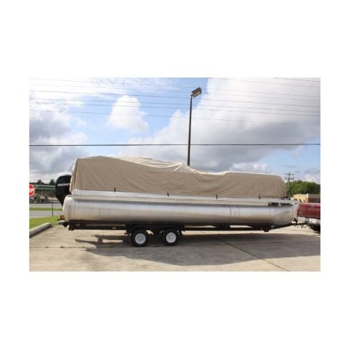 VORTEXTAN/Beige 20' Ultra 3 Pontoon/Deck Boat Cover, HAS Elastic and Straps FITS 18'1' to 19' to 20' FT Long 1 to 4 Business Day DELIVERY