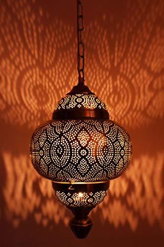 Kayla Oosterse lamp, hanglamp, 39 cm, zilver, E27-fitting, Marokkaans design, hanglamp, oriëntaalse lampen voor woonkamer, keuken of hangend boven de eettafel