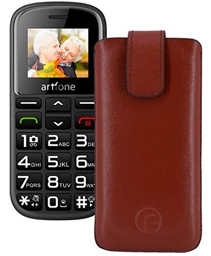 Favory Original Etui Tasche für Artfone CS182 Leder Etui Handytasche Ledertasche Schutzhülle Hülle Hülle Lasche mit Rückzugfunktion* in braun