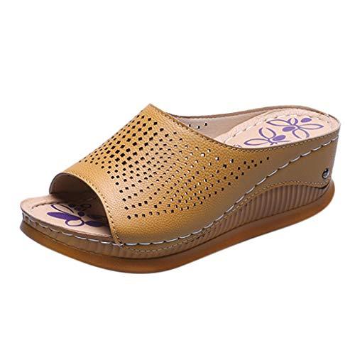 Sandalias Mujer Verano 2020 Zapatos de Plataforma Mujer Cuña Zapatos de Boca de Pescado Playa Zapatillas Sandalias de Punta Abierta Casual Fiesta Roman Tacones Altos Chanclas vpass