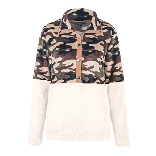 Dicomi Fashion Women Long Sleeve Sweater Vintage Printed Turn Down Collar Top Pocket Blouse Beige