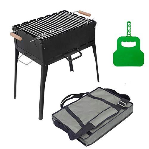 4BIG.fun Holzkohlegrill Klappbar aus Stahl (2mm) inkl Grillrost, Grillfächer und Tasche - Grill Mangal für 6 Spieße für Schaschlik, BBQ (Klappgrill)