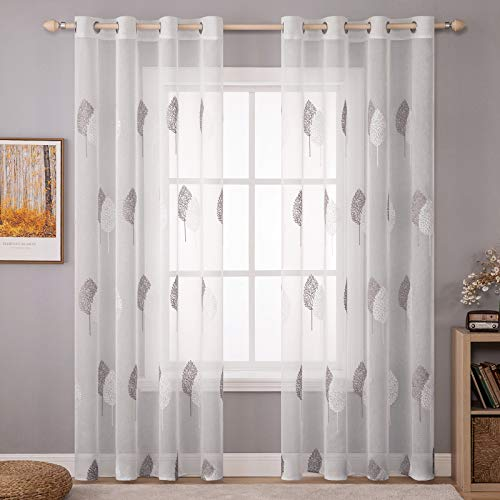 """MIULEE 2 Panels Leaves Embroidery Sheer Curtains Grommet Window Curtain Semi Voile Drapes Panels for Living Room Bedroom 54"""" W x 96"""" L (White and Grey)"""