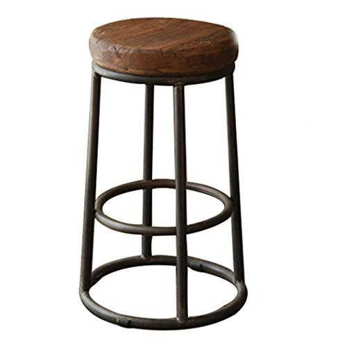 JQQJ bartafel met barkruk ijzer vrije tijd stoel retro barstoel massief houten barkruk oude ronde barkruk hoge stoel