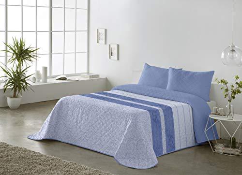 BOHEME Colcha Estampada Reversible AVA Azul Cama 150 cm