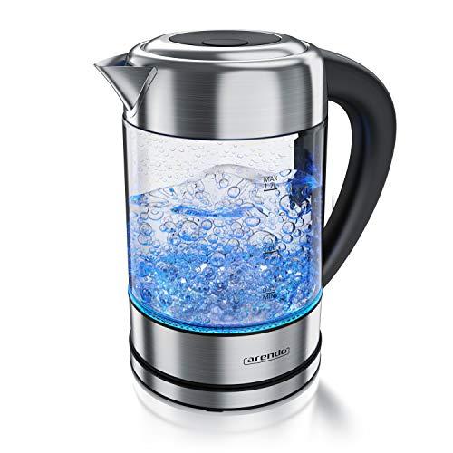 Arendo - Wasserkocher Edelstahl Glas mit Temperatureinstellung – 1,7l - einstellbare Temperaturen 40° 70°-80° 90° 100 °C – Warmhaltefunktion – 3 Min Aufkochfunktion – GS - BPA-frei - RGB Beleuchtung