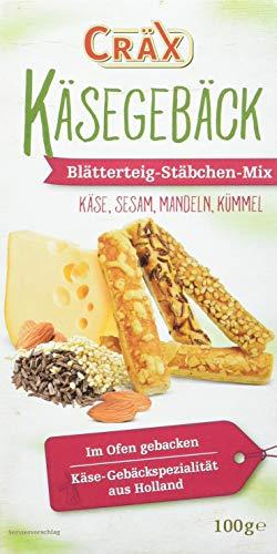 Cräx Käse-Blätterteig Stäbchen Mix (Käse, Sesam, Mandel, Kümmel) 100 g, 10er Pack (10 x 100 g)