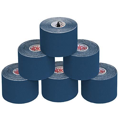 BB Sport 6 Rollos Cinta Kinesiología Tape 5 m x 5 cm Cinta Muscular E- Book Ejemplos Aplicación, Color:azul oscuro