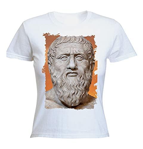 MERCHANDMANIA Camiseta Mujer A3 PLATON PLATÓN FILOSOFO Historia Woman Tshirt