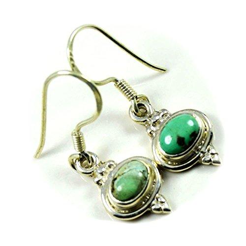 Jewelryonclick - Pendientes de plata de ley con diseño de turquesa natural para mujer