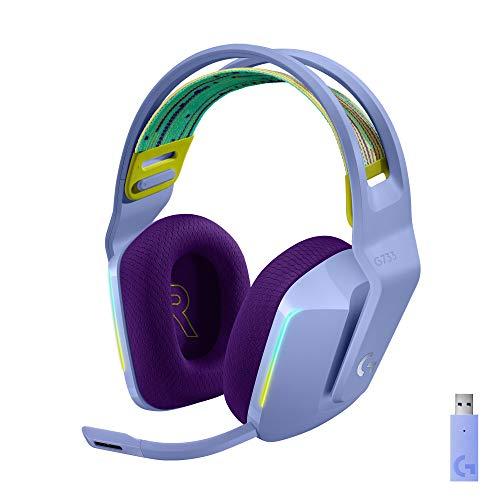 Logitech G Auriculares con Micrófono Inalámbricos Logitech G733 para Gaming con Diadema con Suspensión, Lightspeed, RGB Lightsync, Tecnología de Micrófono Blue VO!CE, Lila