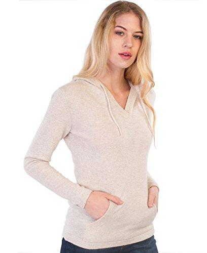 cashmere 4 U 100% Kaschmir V-Ausschnitt Kordelzug Hoodie Pullover für Frauen