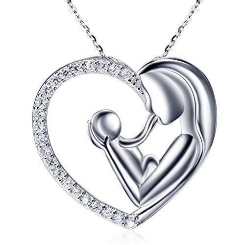 Colar com pingente de corrente de cristal de coração, moderno e simples pingente de amor para mãe e criança, colar feminino com pingente de cristal em forma de coração, joia de corrente de clavícula