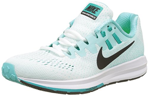 Nike Wmns Air Zoom Structure 20, Zapatillas de Running Mujer, Turquesa (White/Black/Aurora Green/Clear Jade/Igloo), 41 EU