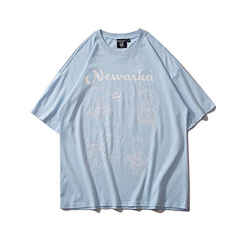 DREAMING-Sudadera De Manga Corta De Verano con Estampado De Alfabeto Camiseta De Algodón De Cuello Redondo con Estampado Suelto Top Camisa De Parejas para Hombres Y Mujeres Blue Medium