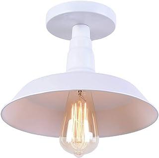 Lighting Industrial Edison Semi Flush Mount Mini Vintage Ceiling Light (Bulb Not Included) (blanco)