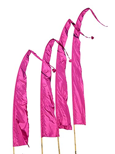 DEKOVALENZ Balifahnen-Stoff SANUR |mit herzförmiger Spitze | Umbul Asien-Fahnen | Fahnenlänge: 3 Meter | Farbe: Purpur
