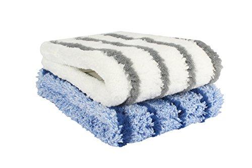BELLANET Wischbezüge Stripe-Mopp für alle gängigen Klapphalter Profi Aufnehmer für Haushalt, Küche und Bad, 40 cm Farbe weiß+blau 2 STK.