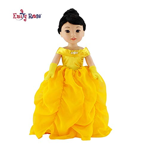Emily Rose 14Inch Doll Clothes/Clothing | Gorgeous Princess Belle-Inspired Costume Ball Gown Outfit with Matching Gloves | Perfect Halloween Costume! | Fits American Girl Wellie Wisher Dolls
