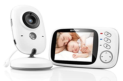 SYOSIN Babyphone mit Kamera, Video Überwachung Baby Monitor Wireless 3.2' TFT LCD Digital dual Audio Funktion,Gegensprechfunktion,Schlaflieder,Temperatursensor, Nachtsicht